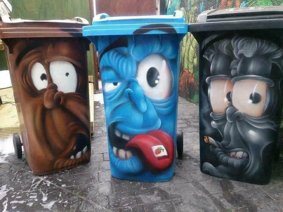 Beklebung von Mülltonnen